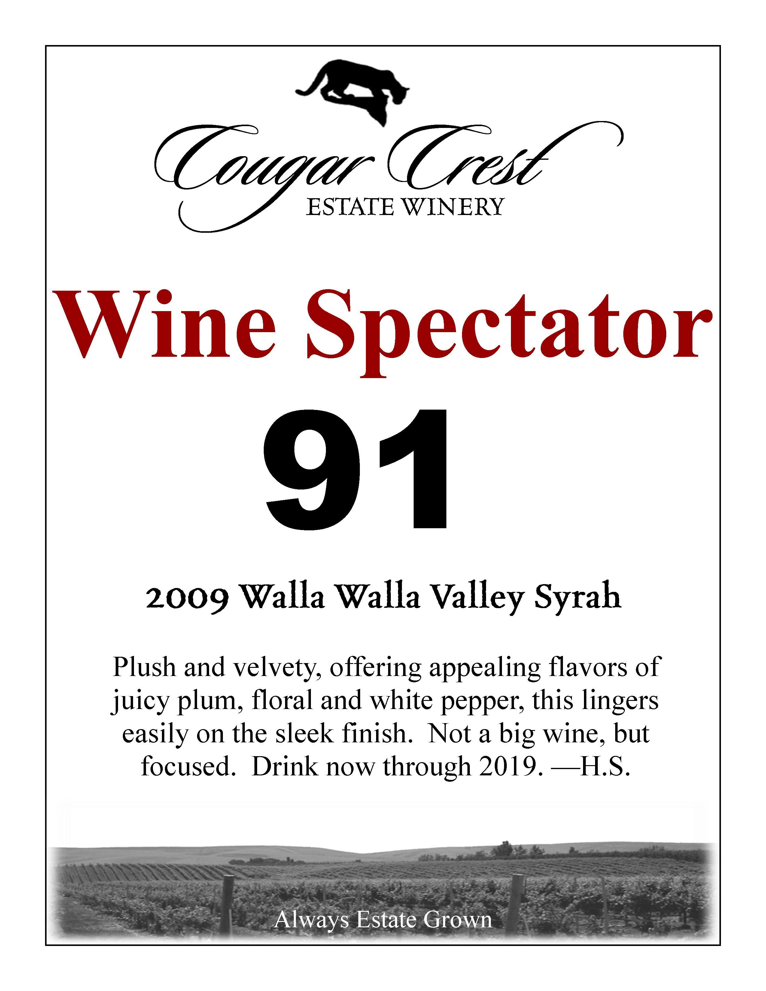 2009 Syrah Wine Spectator